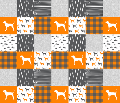 Coonhound quilt top - orange and charcoal fabric by littlearrowdesign on Spoonflower - custom fabric