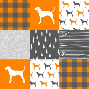Coonhound quilt top - orange and charcoal