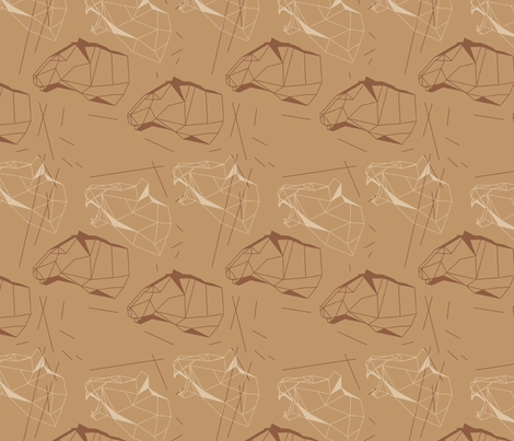 lowpoly lioness fabric by annagret on Spoonflower - custom fabric