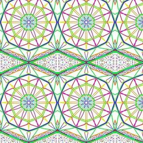 Star Wheels Tumbling on Diamond Waves - Cool Tones