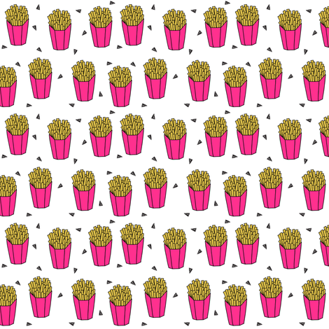 french fries fabric // pink fries cute junk food print by andrea lauren fabric by andrea_lauren on Spoonflower - custom fabric