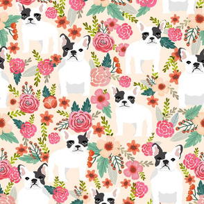 french bulldog fabric cream flowers sweet pink florals frenchie design