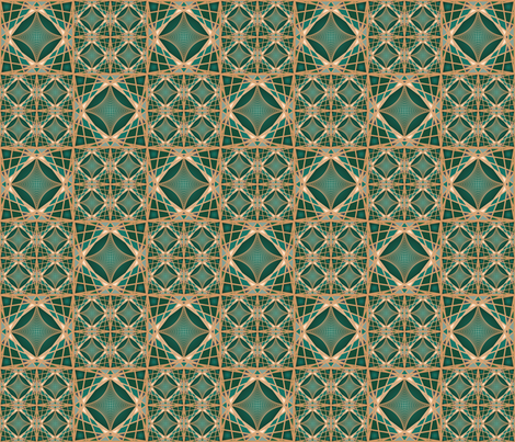 Emerald Geodesic Tile fabric by gwendegroff on Spoonflower - custom fabric