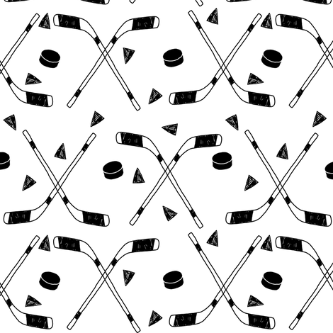 hockey fabric //  hockey sports fabrics hockey sport ice hockey kids fabric  - black and white fabric by andrea_lauren on Spoonflower - custom fabric