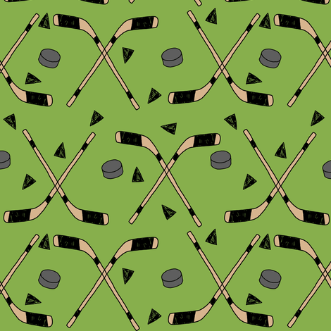 hockey fabric //  hockey sports fabrics hockey sport ice hockey kids fabric  - green fabric by andrea_lauren on Spoonflower - custom fabric