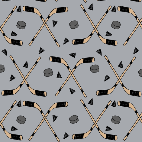 hockey fabric //  hockey sports fabrics hockey sport ice hockey kids fabric  - grey fabric by andrea_lauren on Spoonflower - custom fabric
