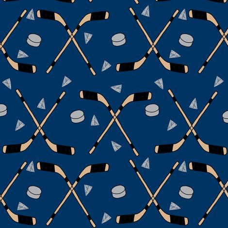 hockey fabric //  hockey sports fabrics hockey sport ice hockey kids fabric  - navy fabric by andrea_lauren on Spoonflower - custom fabric