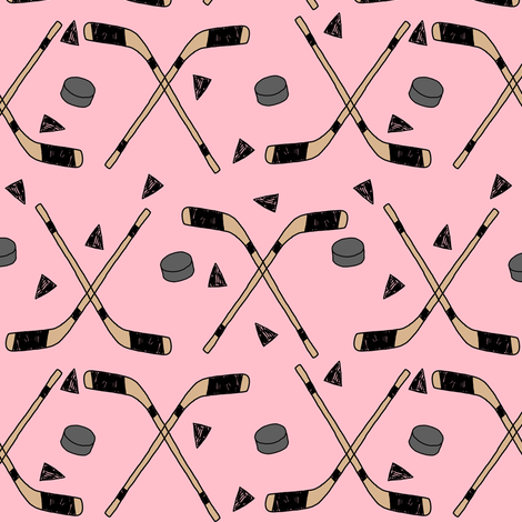 hockey fabric //  hockey sports fabrics hockey sport ice hockey kids fabric  - pink fabric by andrea_lauren on Spoonflower - custom fabric