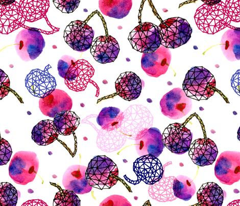 Geodesic Cherries - © Lucinda Wei fabric by lucindawei on Spoonflower - custom fabric