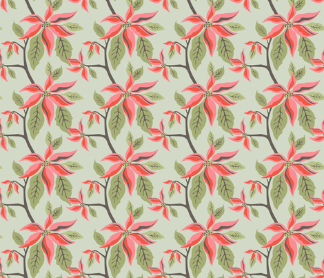 Merry Poinsettia fabric by sheri_mcculley on Spoonflower - custom fabric