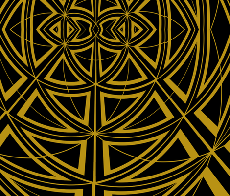 Geodesic in Black & Gold  fabric by triciacourtney on Spoonflower - custom fabric