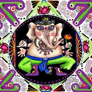 Lord ganesha ganesh Hindu India Indian colorful mandala, large scale, violet orchid purple lilac black white