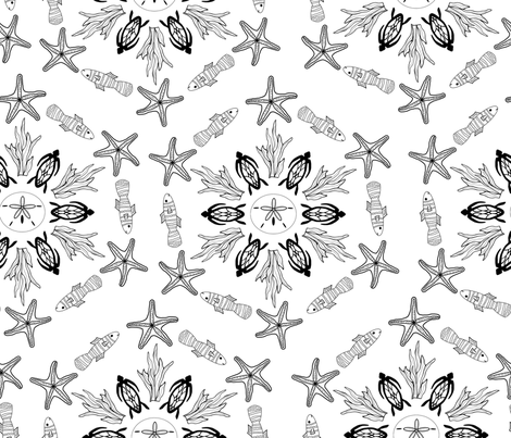Color Your Own Sea Life Mandala fabric by themadcraftduckie on Spoonflower - custom fabric
