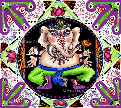 Lord ganesha ganesh Hindu India Indian colorful mandala, small scale, violet orchid purple lilac black white