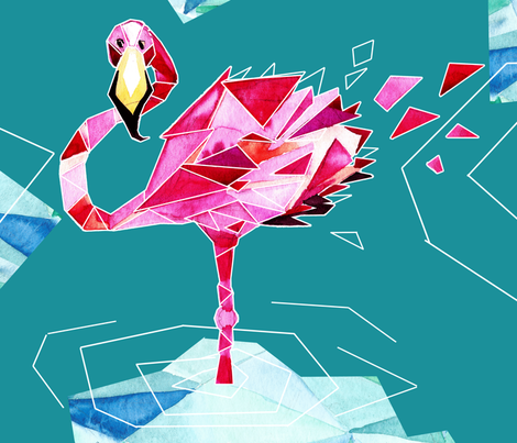 Flamingo hipster in geometry world fabric by artninus on Spoonflower - custom fabric