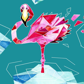 Flamingo hipster in geometry world