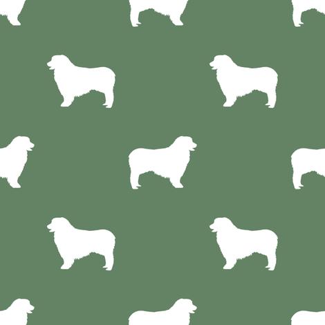 Australian Shepherd silhouette dog breeds med green fabric by petfriendly on Spoonflower - custom fabric