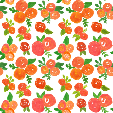 orange abstract acrylic floral  fabric by smallhoursshop on Spoonflower - custom fabric
