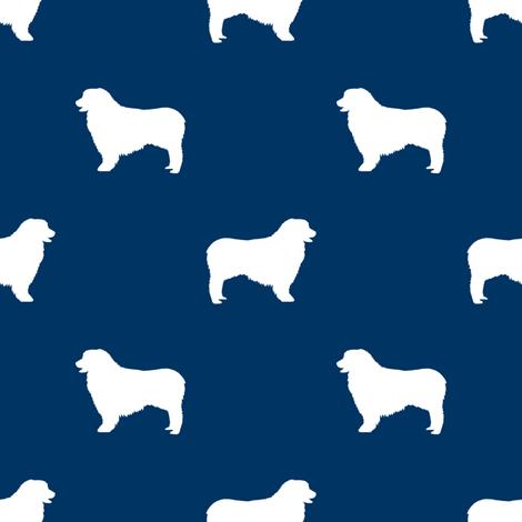 Australian Shepherd silhouette dog breeds navy fabric by petfriendly on Spoonflower - custom fabric