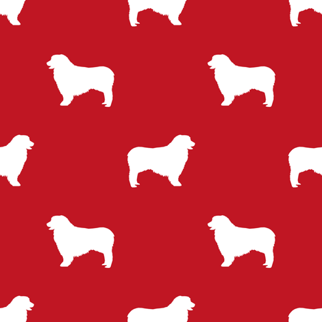 Australian Shepherd silhouette dog breeds red fabric by petfriendly on Spoonflower - custom fabric