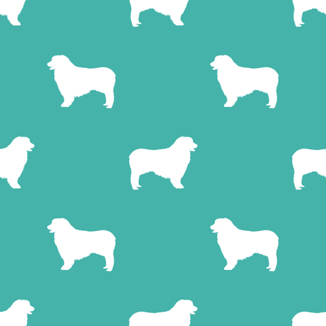 Australian Shepherd silhouette dog breeds turquoise fabric by petfriendly on Spoonflower - custom fabric