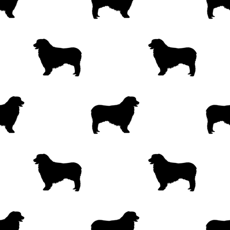 Australian Shepherd silhouette dog breeds white fabric by petfriendly on Spoonflower - custom fabric