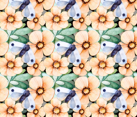 In Bloom fabric by jilbert on Spoonflower - custom fabric