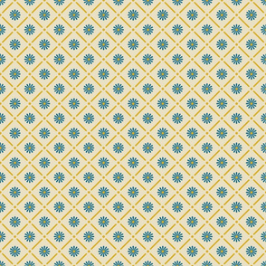 Blue Daisies in Yellow Grid