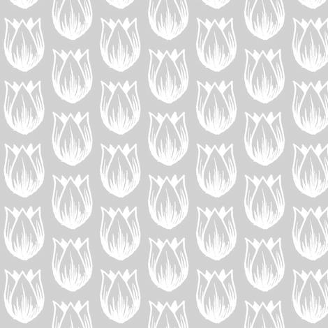 Doodle Tulip - Gray fabric by siya on Spoonflower - custom fabric