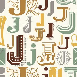 Seamless letter J pattern