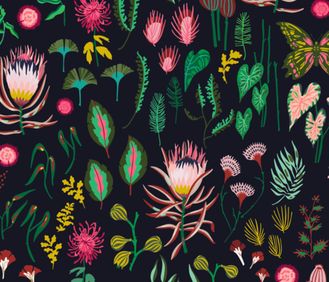 leaf_and_floral_study_dark_large fabric by holli_zollinger on Spoonflower - custom fabric
