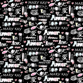 Mary_Kay Inspired Fabric Pattern Black