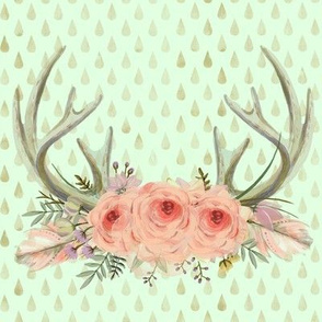 Mint Deer Antlers | Woodland Watercolor