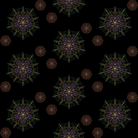 Mandalas on black bg fabric by flutterbi on Spoonflower - custom fabric