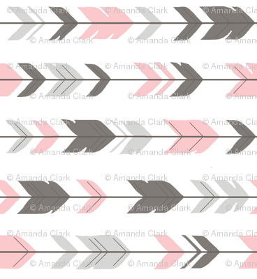 Arrow Feathers -dark grey/pink/white-  baby Girl Woodland - rotated