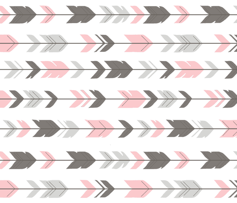 Arrow Feathers -dark grey/pink/white-  baby Girl Woodland - rotated fabric by sugarpinedesign on Spoonflower - custom fabric