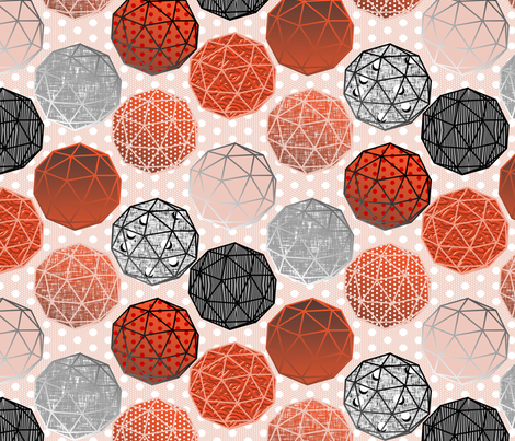 Dot dot dot this Geodesic on pale pink by Su_G fabric by su_g on Spoonflower - custom fabric