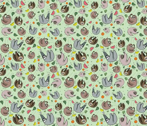 Sloth Party fabric by nemki on Spoonflower - custom fabric
