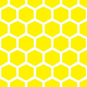 Hive Hex in white on bright yellow on white