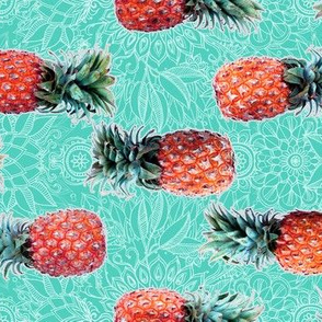 Pineapple to Pink Border Print on teal