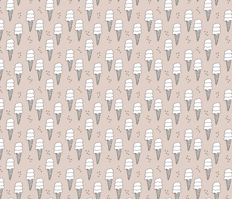 Ice cream cone illustration summer love candy time gender neutral beige fabric by littlesmilemakers on Spoonflower - custom fabric
