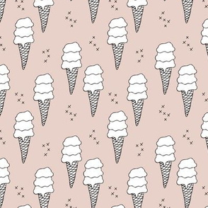 Ice cream cone illustration summer love candy time gender neutral beige