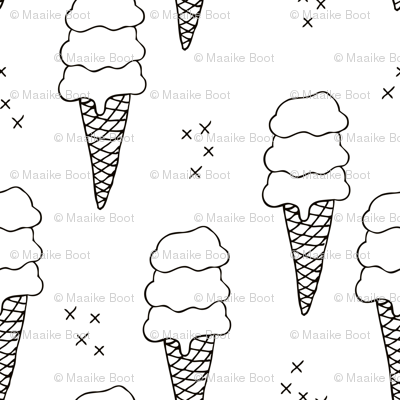 Ice cream cone illustration summer love candy time gender neutral black and white