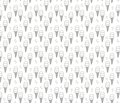 Ice cream cone illustration summer love candy time gender neutral black and white fabric by littlesmilemakers on Spoonflower - custom fabric