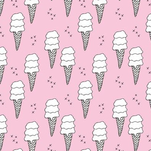 Ice cream cone illustration summer love candy time girls pink