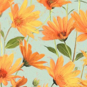 Painted Warm Orange Daisies on grey green large version