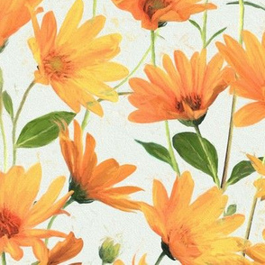 Painted Radiant Orange Daisies on off white large version