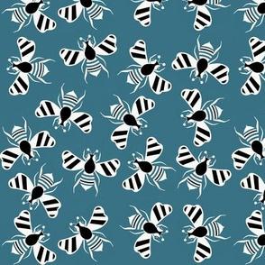Bee fun cool blue teal sewindigo