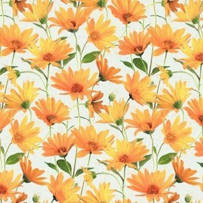 Painted Radiant Orange Daisies on off white small version