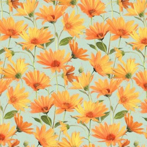 Painted Warm Orange Daisies on grey green small version